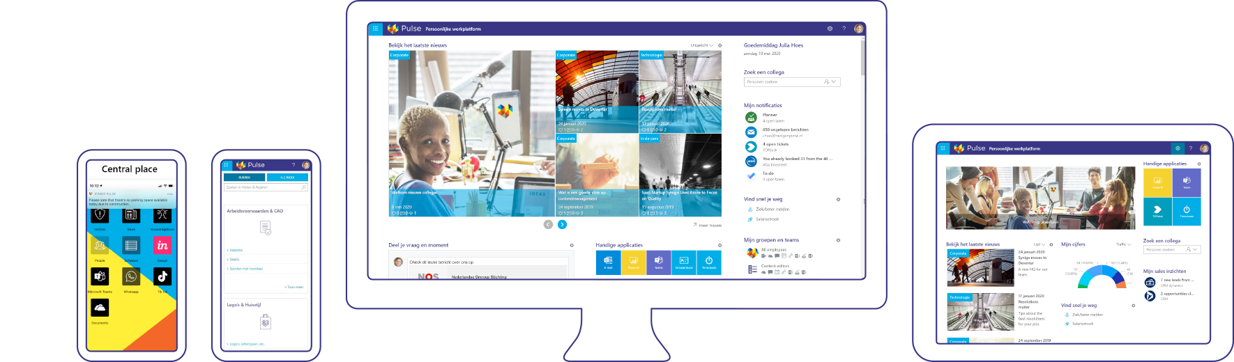 Screenshot of Synigo Pulse, social intranet & digital workplace